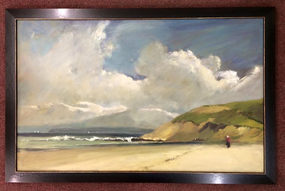Beachside oil painting in a classic black frame with a gold trim