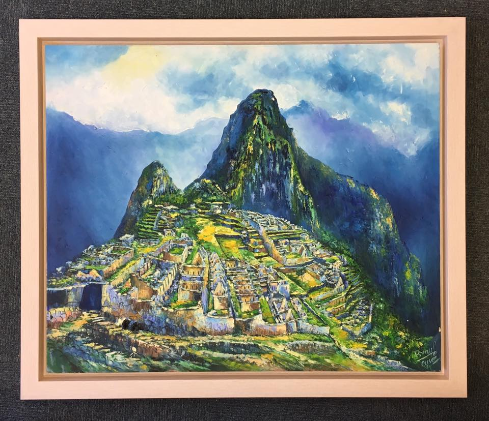 Machu Picchu painting in a wooden frame