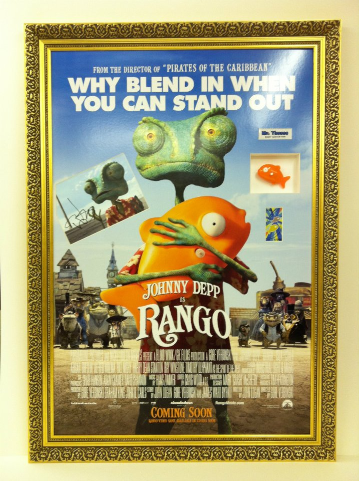 Rango poster in a detailed golden frame