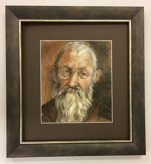 Painting of an old man in a grey smokey frame